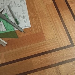 Piso Parquet - Eucaliptus Rostrata- 14 mm x 60/70 mm x 0,30 y 0,35 mts.